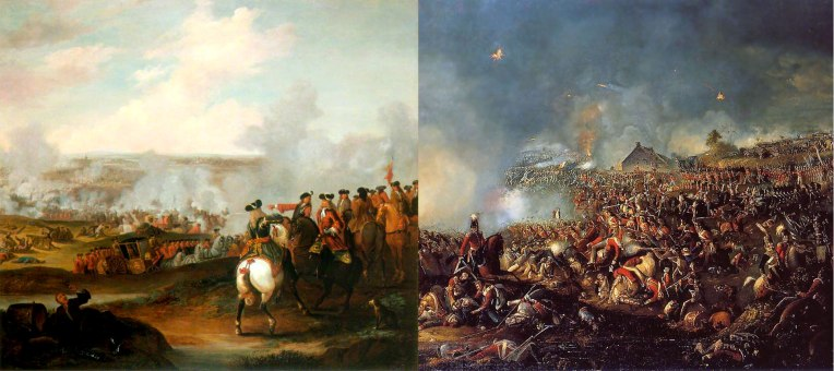 Left: Battle of Blenheim, 1704 Right: Battle of Waterloo, 1815