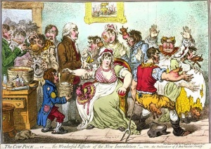Caricature by the English artist James Gillray: The Cow-Pock or the Wonderful Effects of the New Inoculation! (1802). The word 'vaccination' comes from the Latin 'vaccha' for cow. Jenner's treatment did not use the live smallpox virus but the virus from the milder cow pox which also produced immunity in humans.